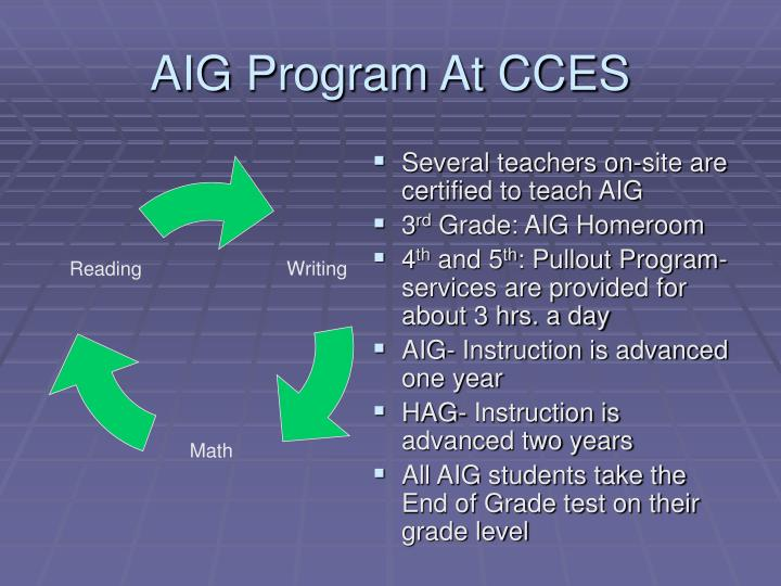 AIG Program At CCES