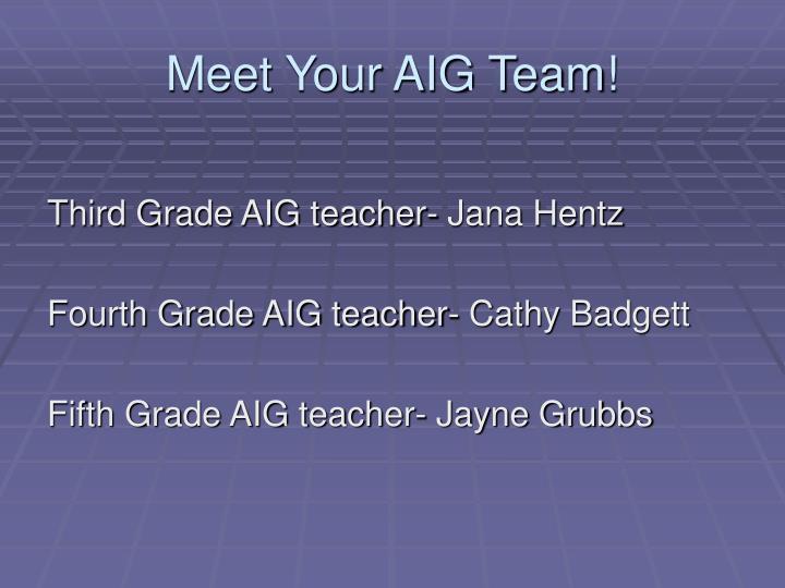 Meet Your AIG Team!