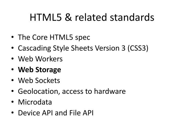 Html5 related standards