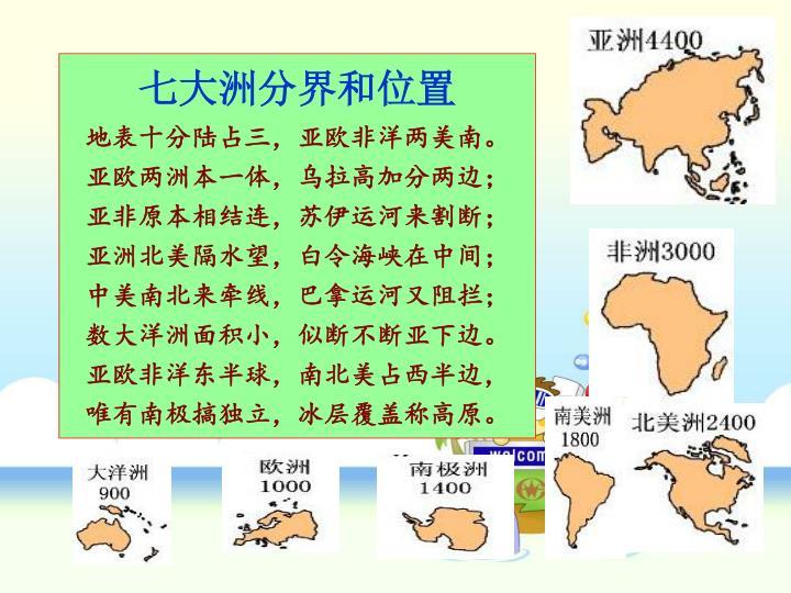 七大洲分界和位置