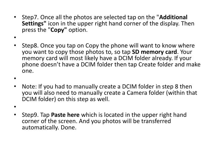 Step7. Once all the photos are selected tap on the ""