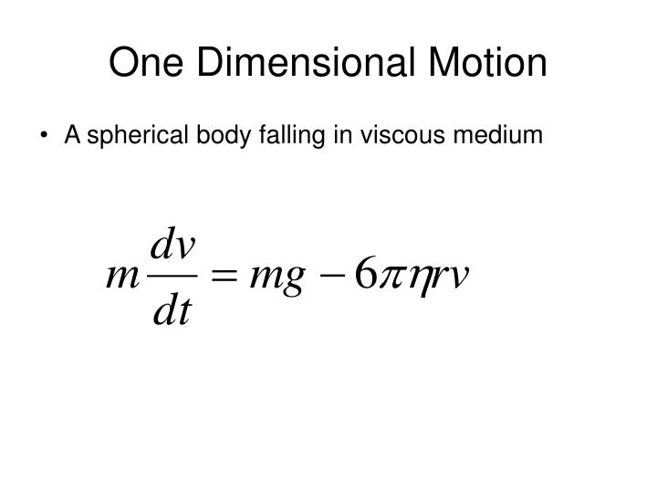 One Dimensional Motion