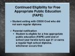 continued eligibility for free appropriate public education fape