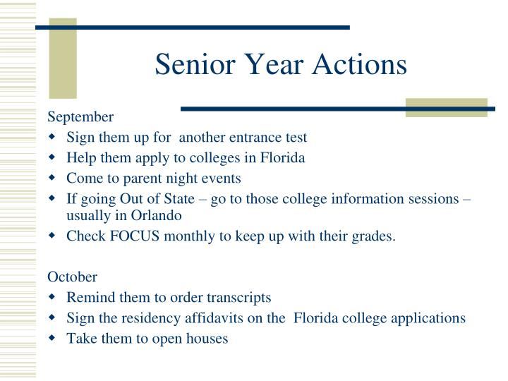 Senior Year Actions