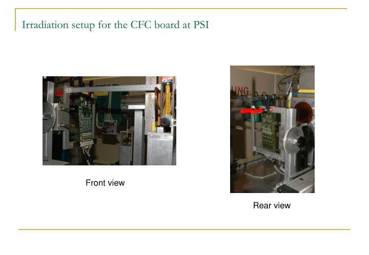 Irradiation setup for the CFC board at PSI
