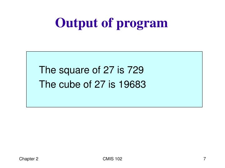 Output of program