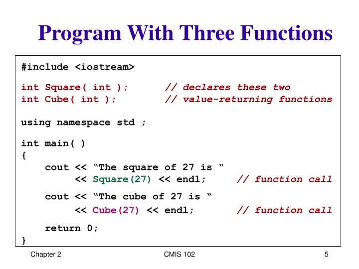 Program With Three Functions