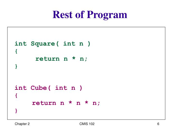 Rest of Program