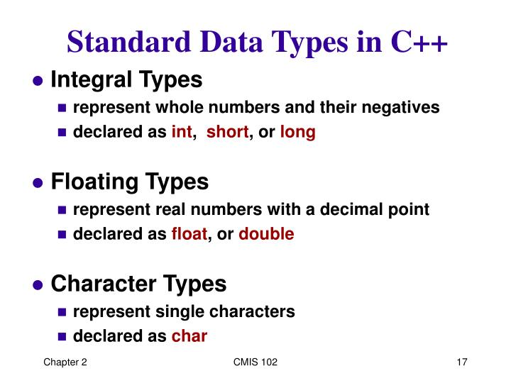 Standard Data Types in C++