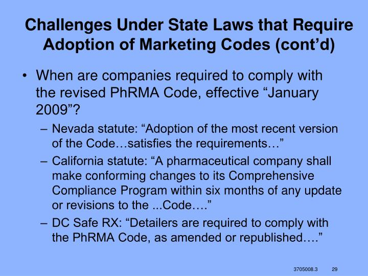 Challenges Under State Laws that Require Adoption of Marketing Codes (cont'd)