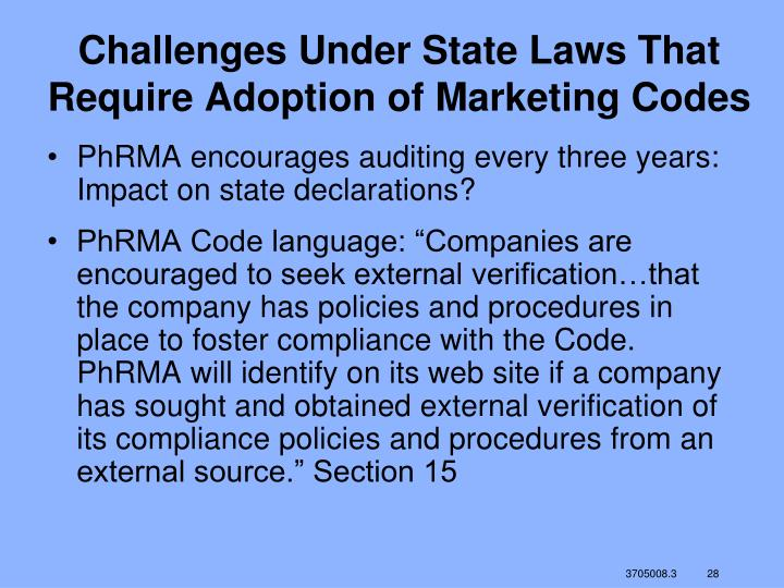 Challenges Under State Laws That