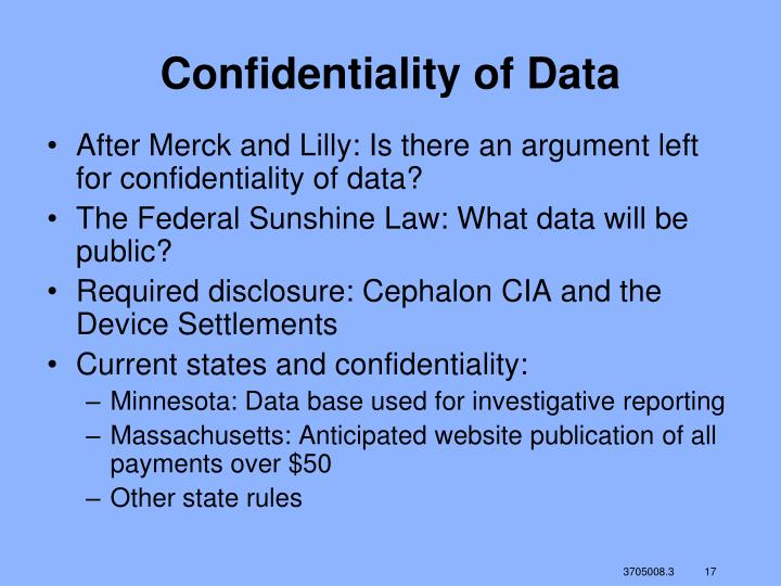 Confidentiality of Data