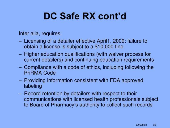 DC Safe RX cont'd