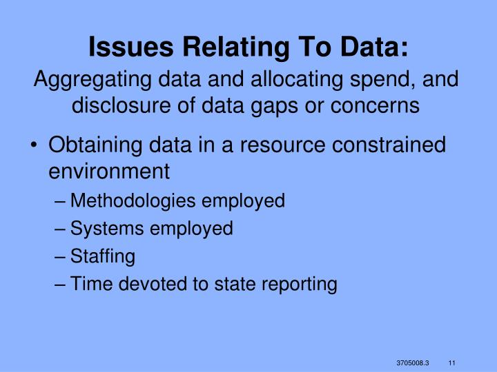 Issues Relating To Data: