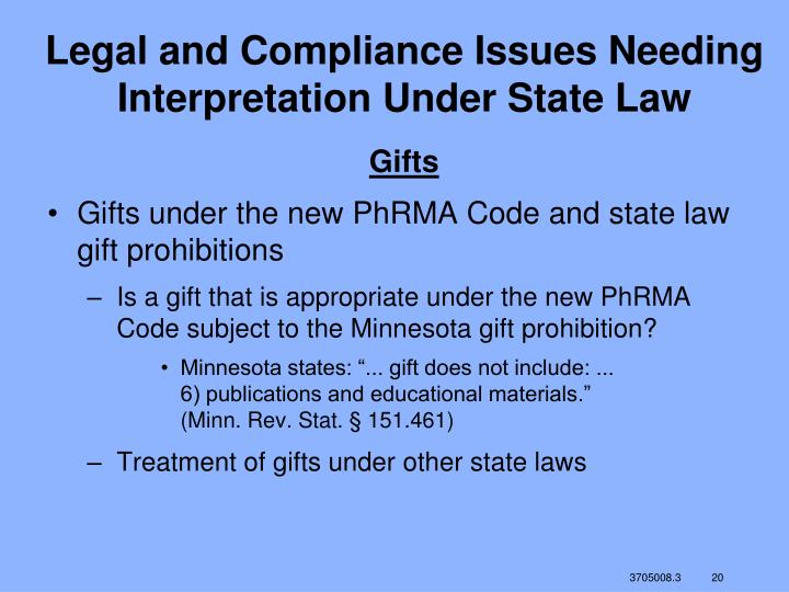 Legal and Compliance Issues Needing Interpretation Under State Law