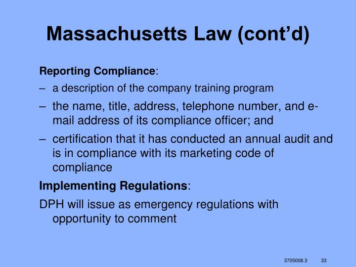 Massachusetts Law (cont'd)