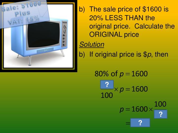 Sale: $1600