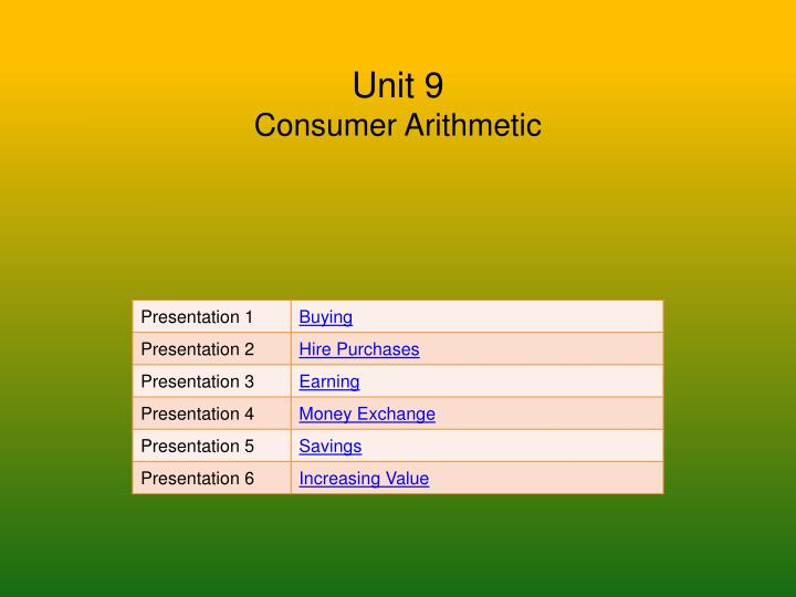Unit 9 consumer arithmetic
