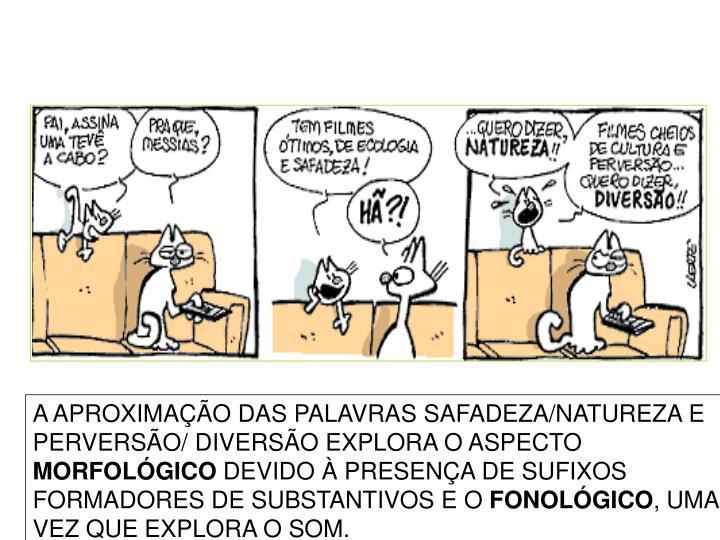 A APROXIMAÇÃO DAS PALAVRAS SAFADEZA/NATUREZA E PERVERSÃO/ DIVERSÃO EXPLORA O ASPECTO