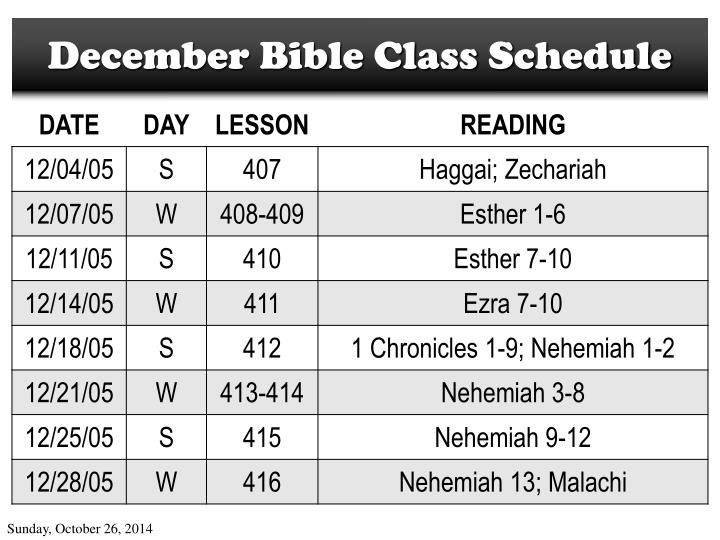 December Bible Class Schedule