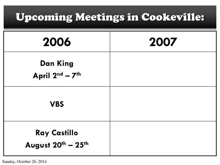 Upcoming Meetings in Cookeville: