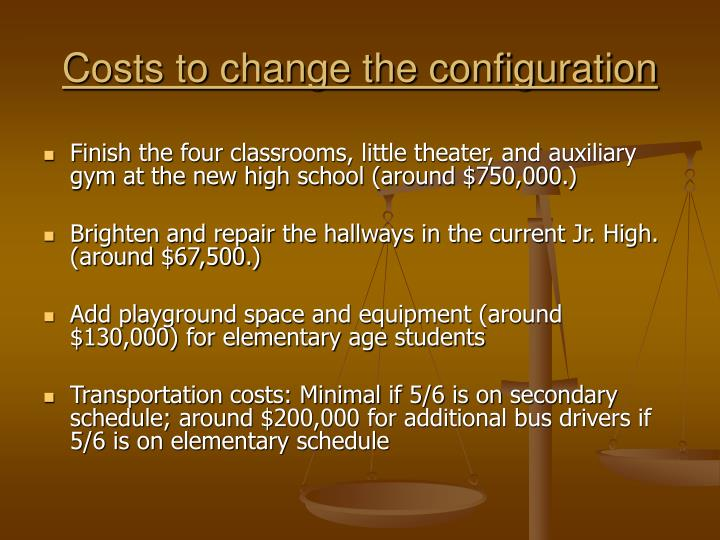Costs to change the configuration