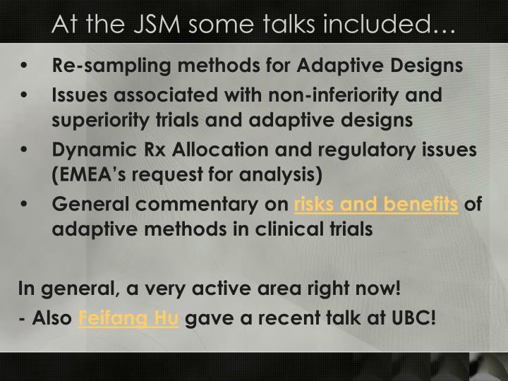 At the JSM some talks included…