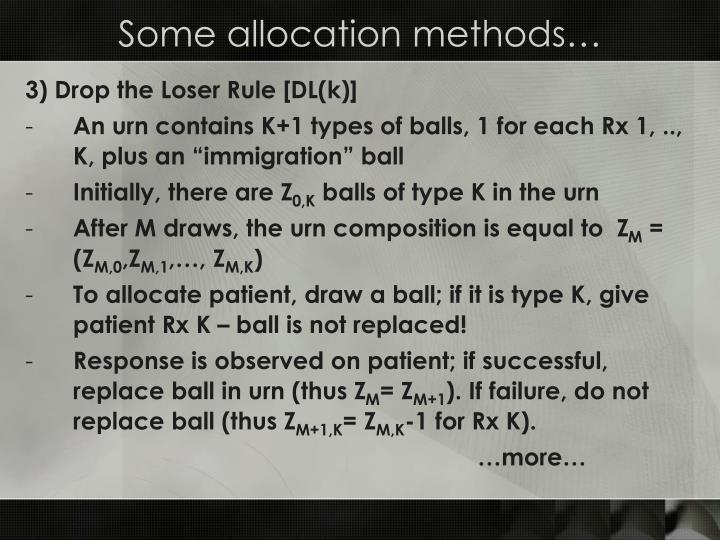 Some allocation methods…