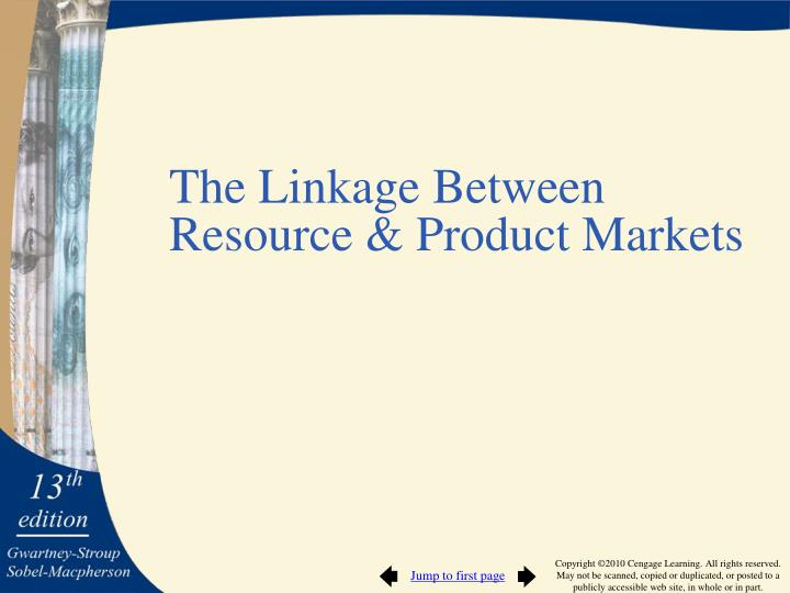 The Linkage Between Resource & Product Markets