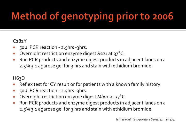 Method of genotyping prior