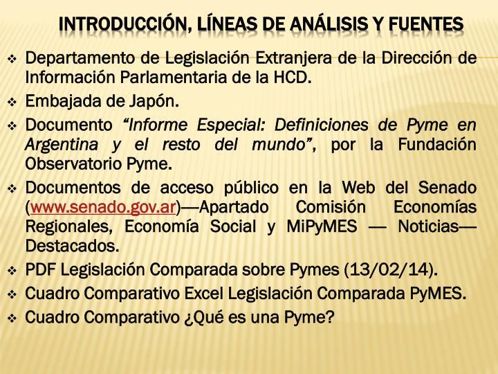 Departamento de Legislación Extranjera de la Dirección de Información Parlamentaria de la HCD.