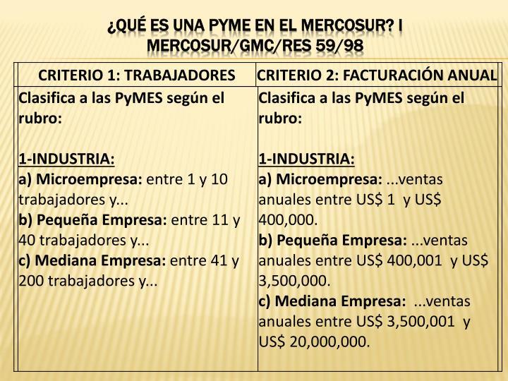 ¿QUÉ ES UNA PYME EN EL MERCOSUR? I