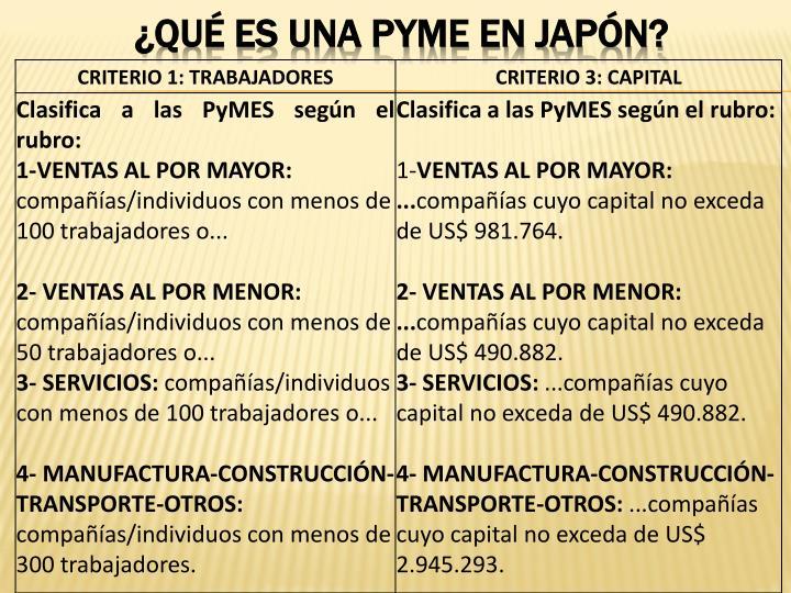 ¿QUÉ ES UNA PYME EN JAPÓN?