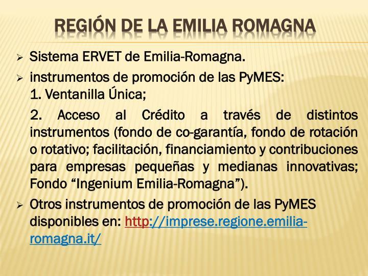 Sistema ERVET de Emilia-Romagna.