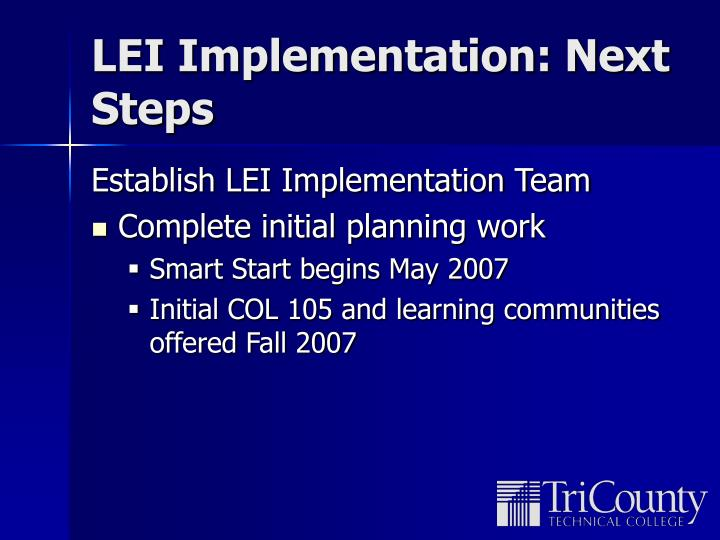 LEI Implementation: Next Steps