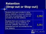 retention drop out or stop out