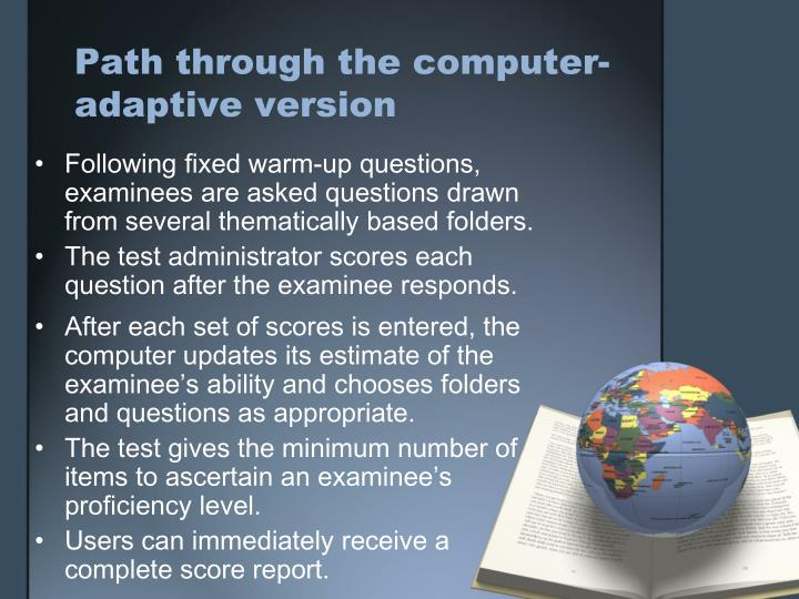 Path through the computer-adaptive version