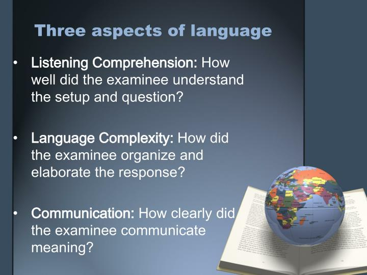 Three aspects of language