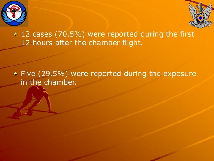 12 cases (70.5%) were reported during the first 12 hours after the chamber flight.