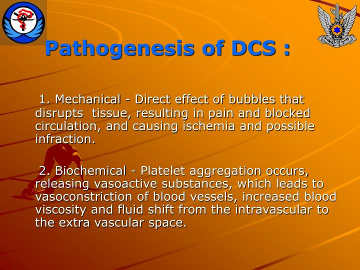 Pathogenesis of DCS :