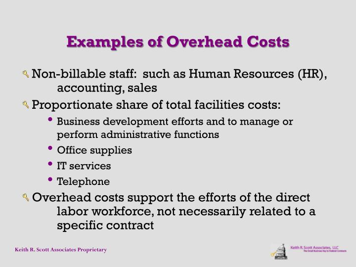 Examples ofOverhead Costs