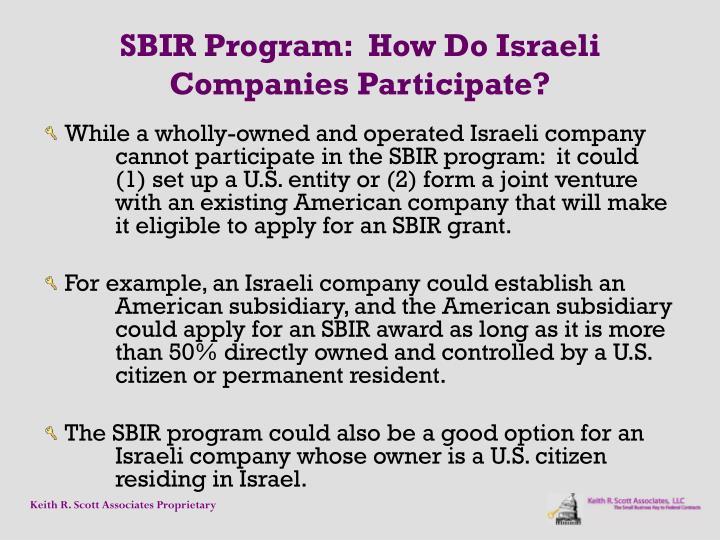 SBIR Program:  How Do Israeli Companies Participate?