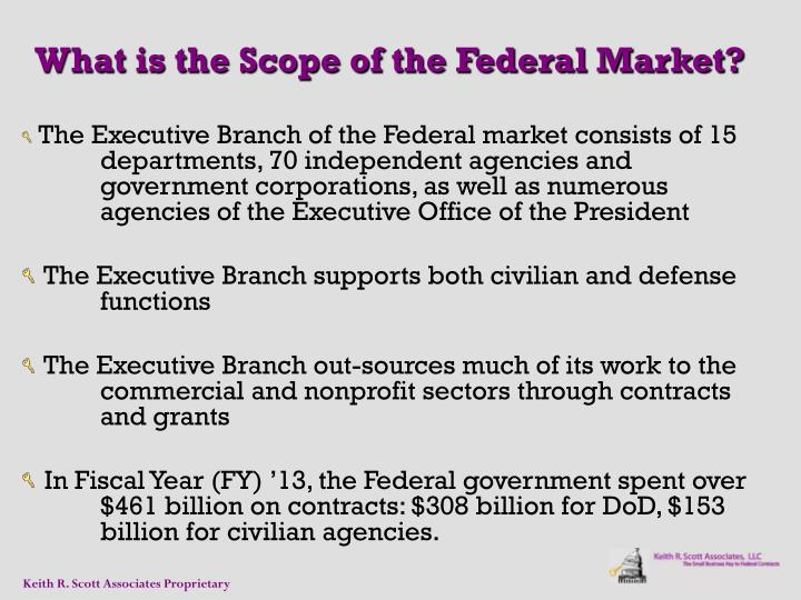 The Executive Branch of the Federal market consists of 15 departments, 70 independent agencies and government corporations, as well as numerous agencies of the Executive Office of the President