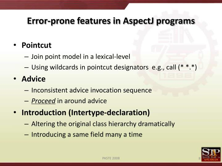 Error-prone features in AspectJ programs