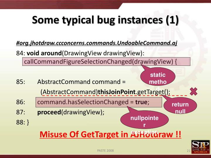 Some typical bug instances (1)