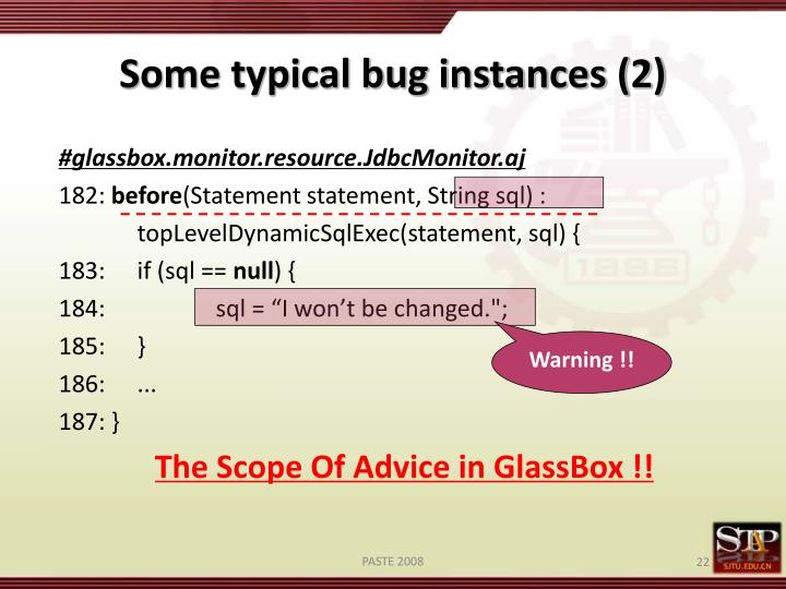 Some typical bug instances (2)