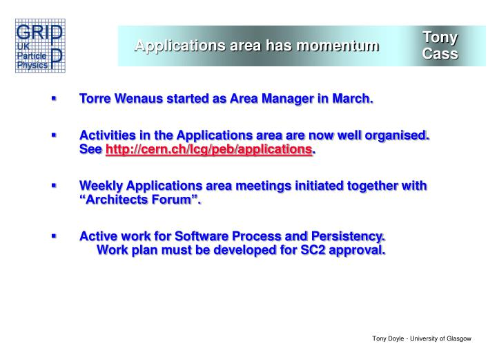 Applications area has momentum