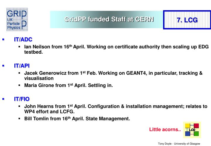 GridPP funded Staff at CERN