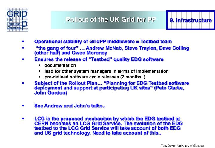 Rollout of the UK Grid for PP