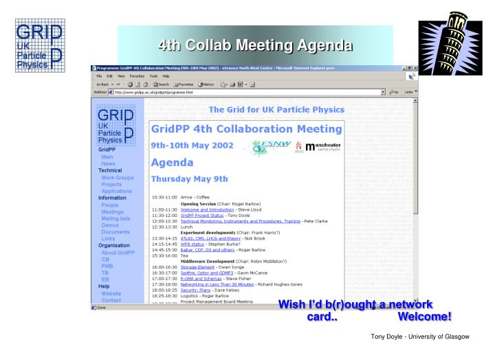 4th Collab Meeting Agenda